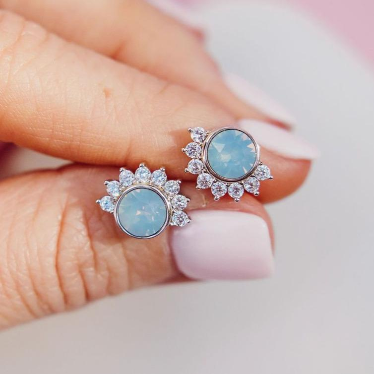 """Lois"" Studs in Air Blue Swarovski® Earrings Chloe + Lois"