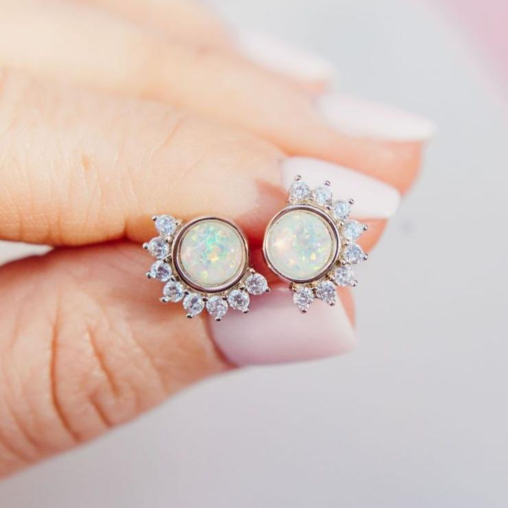 """Lois"" Studs in White Opal Earrings Chloe + Lois Sterling Silver"