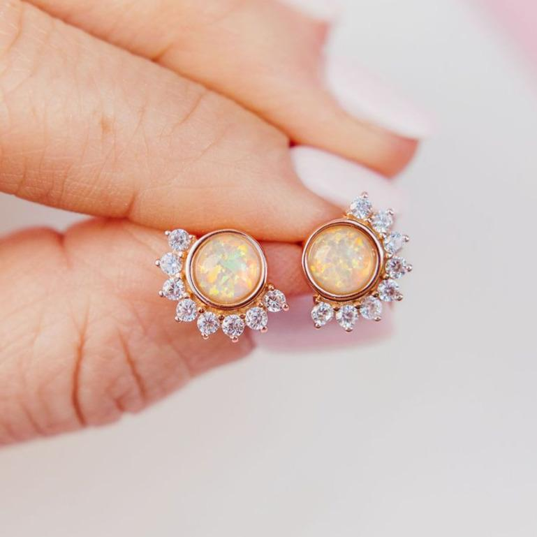 """Lois"" Studs in White Opal Earrings Chloe + Lois Rose Gold"