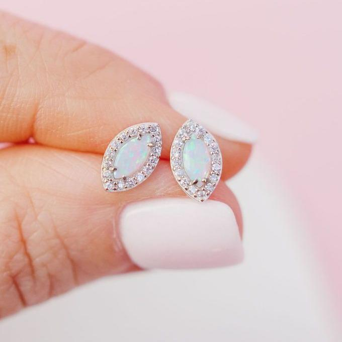 "White Opal ""Good Eye"" Studs Earrings Chloe + Lois"