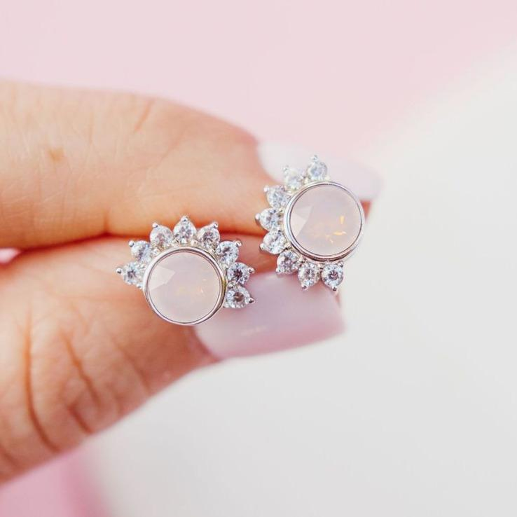 """Lois"" Studs in Rosewater Pink Swarovski® Earrings Chloe + Lois Sterling Silver"