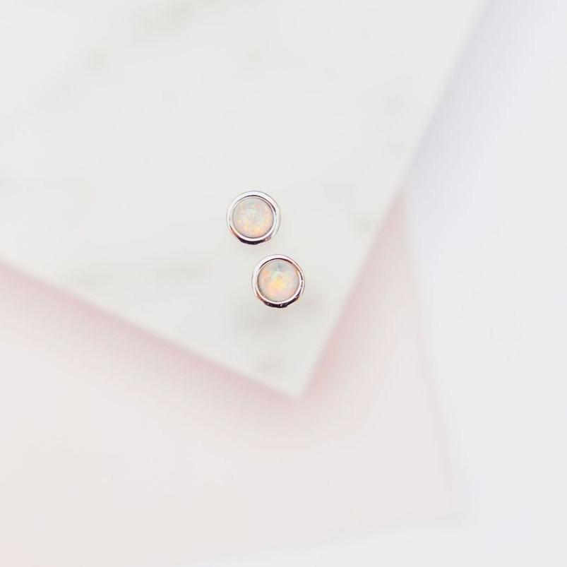White Opal Glow Dot Studs Earrings Chloe + Lois