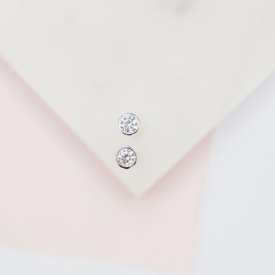 White Cubic Zirconia Sparkle Dot Studs Earrings Chloe + Lois