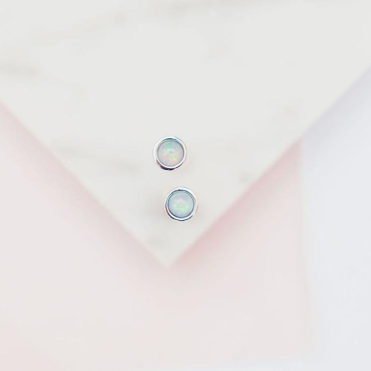 Milky Blue Opal Glow Dot Studs Earrings Chloe + Lois
