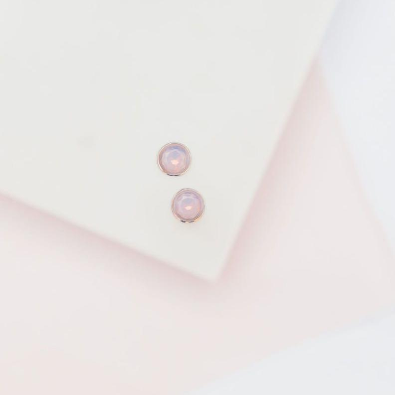 Cotton Candy Opal Glow Dot Studs Earrings Chloe + Lois