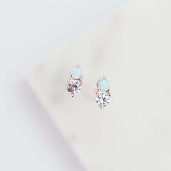"Milky Blue Opal + Cubic Zirconia ""Twinkle"" Studs Earrings Chloe + Lois"
