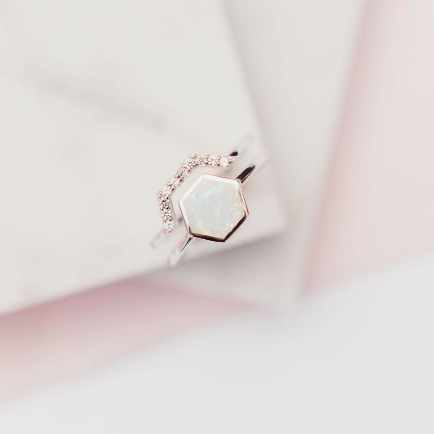 White Opal Stardust Stacking Ring Rings Chloe + Lois