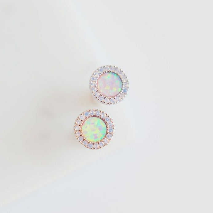 Chloe + Lois Sterling Silver Stud Earrings with Pink Opal