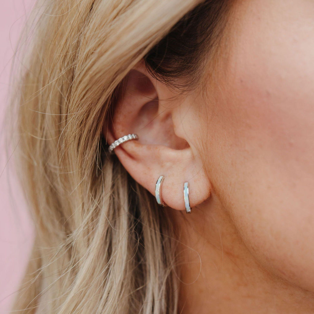 Milky Blue Opal Slim Huggie Hoops HOOP EARRINGS Chloe + Lois