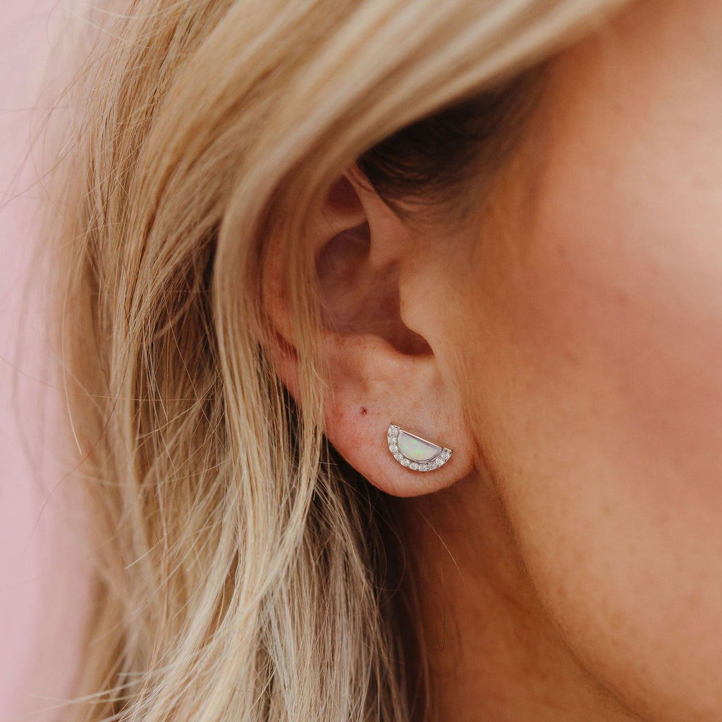Sterling Silver White Opal MOD Studs Earrings Chloe + Lois