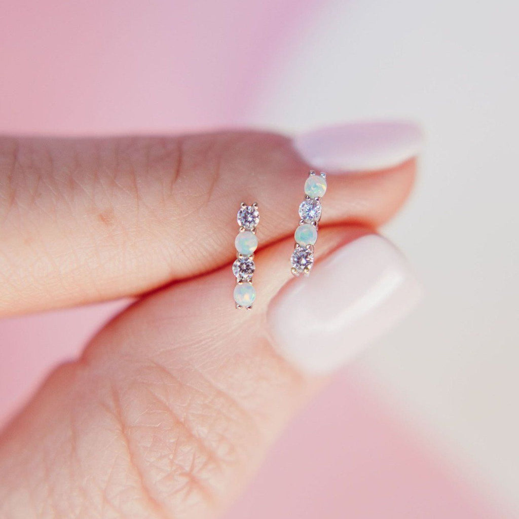 """Infinity"" Bar Studs in Opal + Cubic Zirconia Earrings Chloe + Lois"