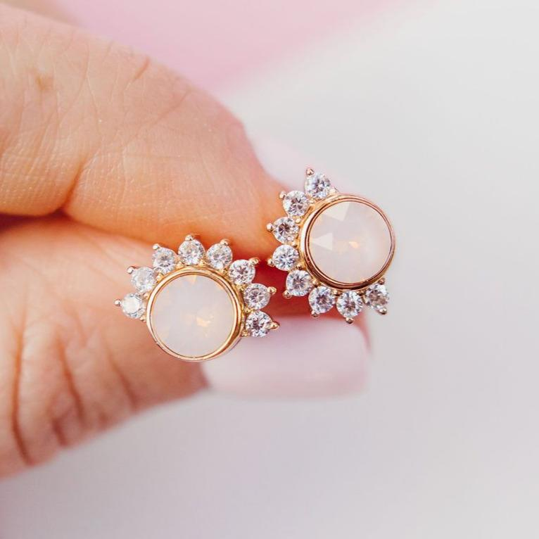 """Lois"" Studs in Rosewater Pink Swarovski® Earrings Chloe + Lois Rose Gold"