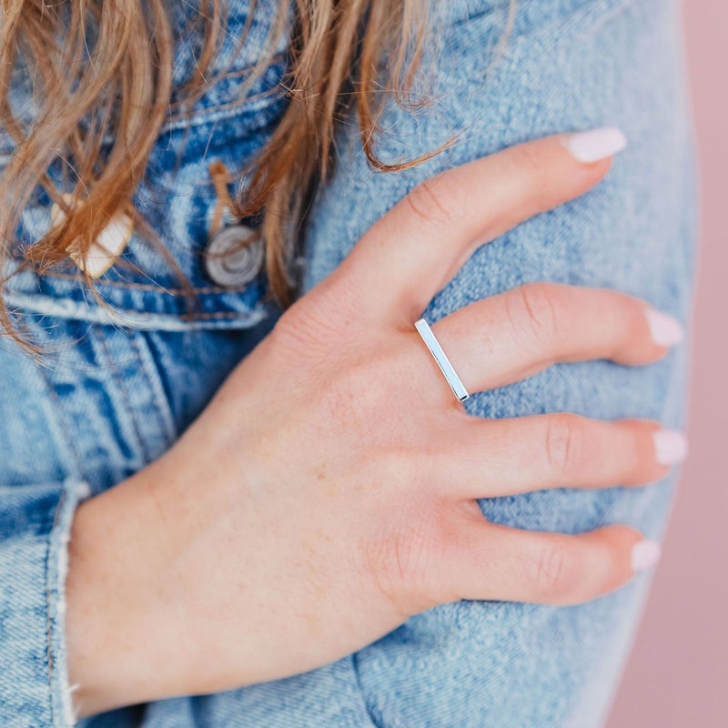 Milky Blue Opal Bar Statement Ring