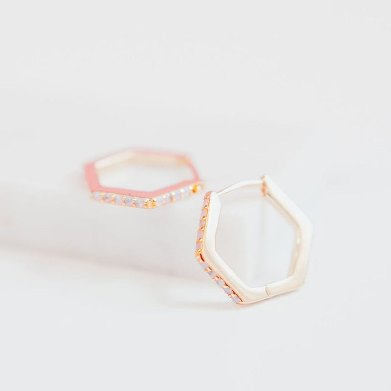 Chloe + Lois Hexagon Huggie Hoops