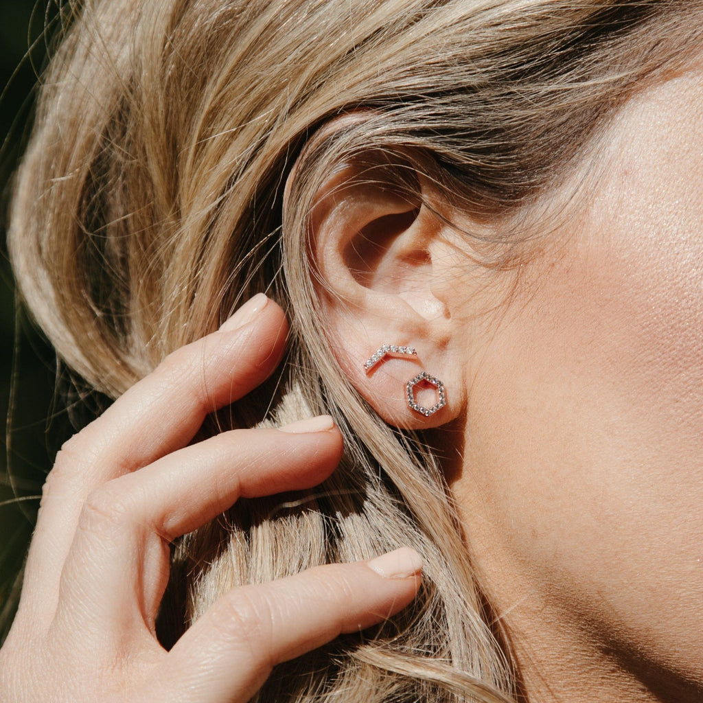 Slim Sparkling Hex Studs Earrings Chloe + Lois