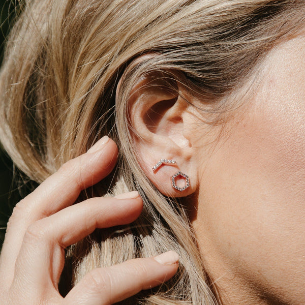 Dainty Pavé Chevron Stud Earrings by Chloe + Lois