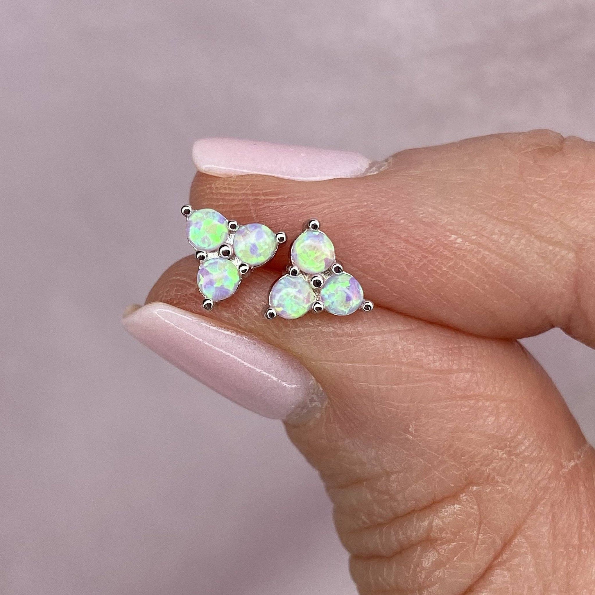 "Sterling Silver White Opal ""GLOW"" Stud Earrings"