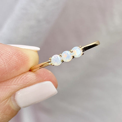 14K Gold Cotton Candy Opal Cubic Zirconia Slim Stone Stacking Ring