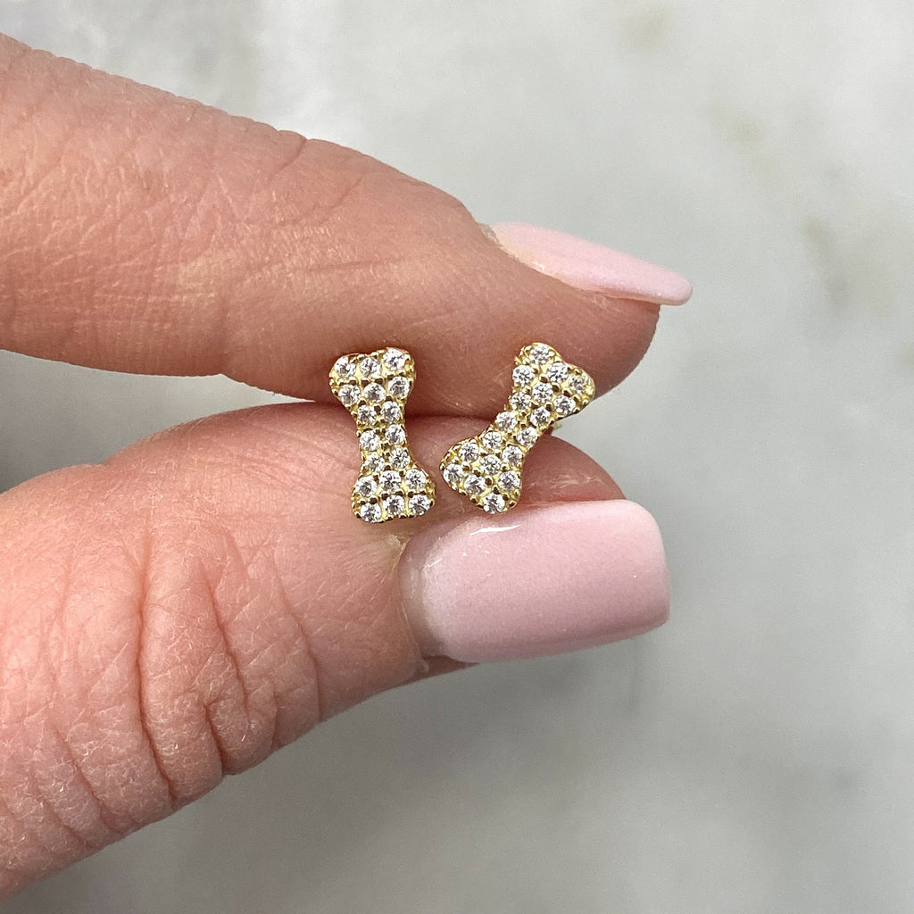 14K Gold Bitty Dog Bone Studs