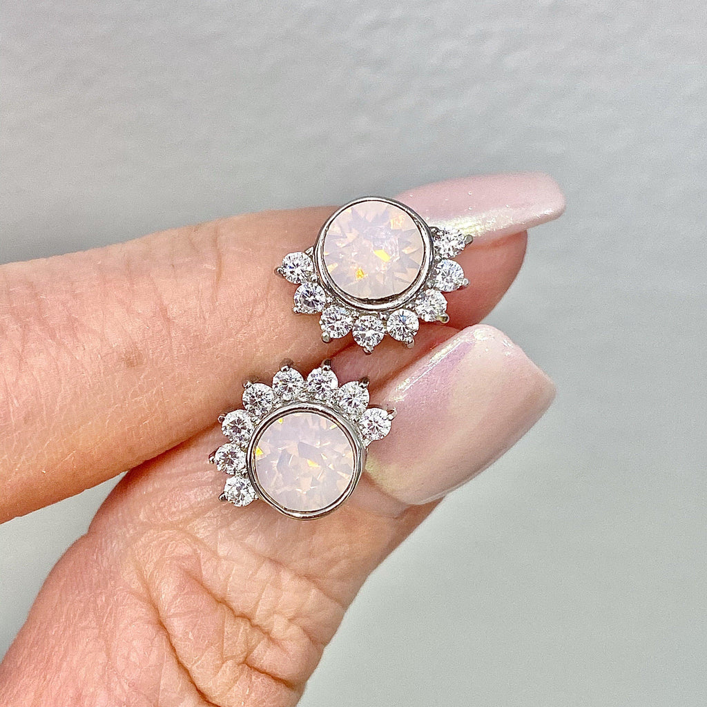 Sterling Silver Pink Swarovski and Cubic Zirconia Lois Stud Earrings