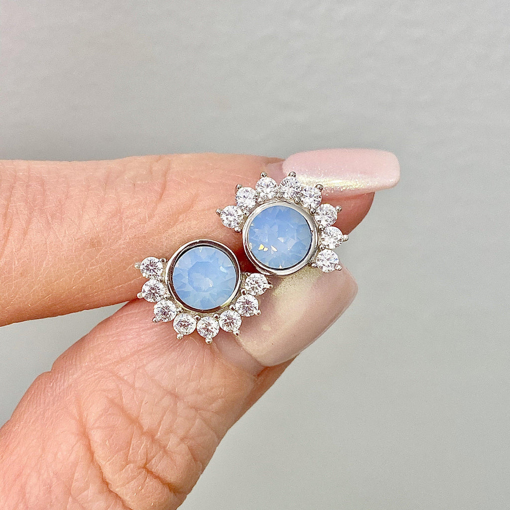 Sterling Silver Blue Swarovski Stud Earrings