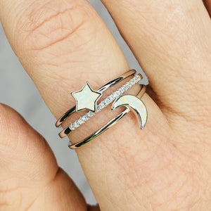 Dainty Opal Stacking Rings Moon and Star Chloe + Lois