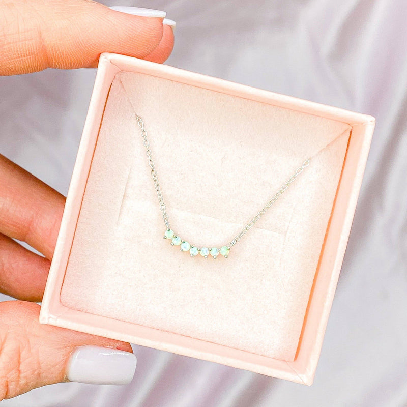 Dainty Layering Necklace in Opal Necklaces Chloe + Lois Sterling Silver