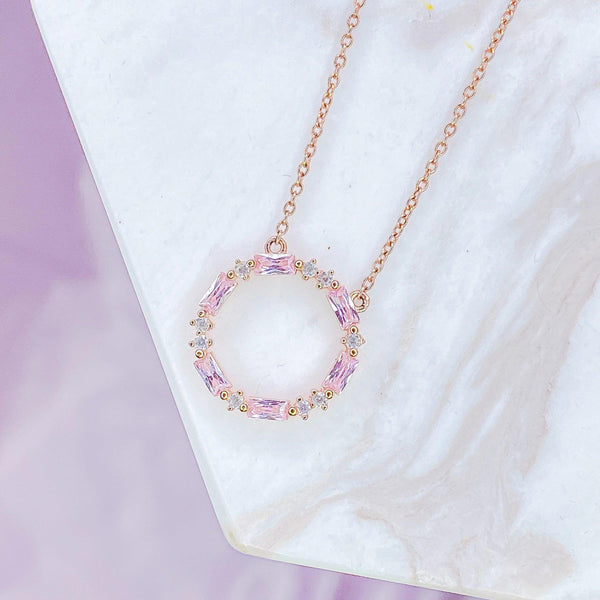 Rose Gold Pink CZ and Clear CZ Necklace Chloe + Lois