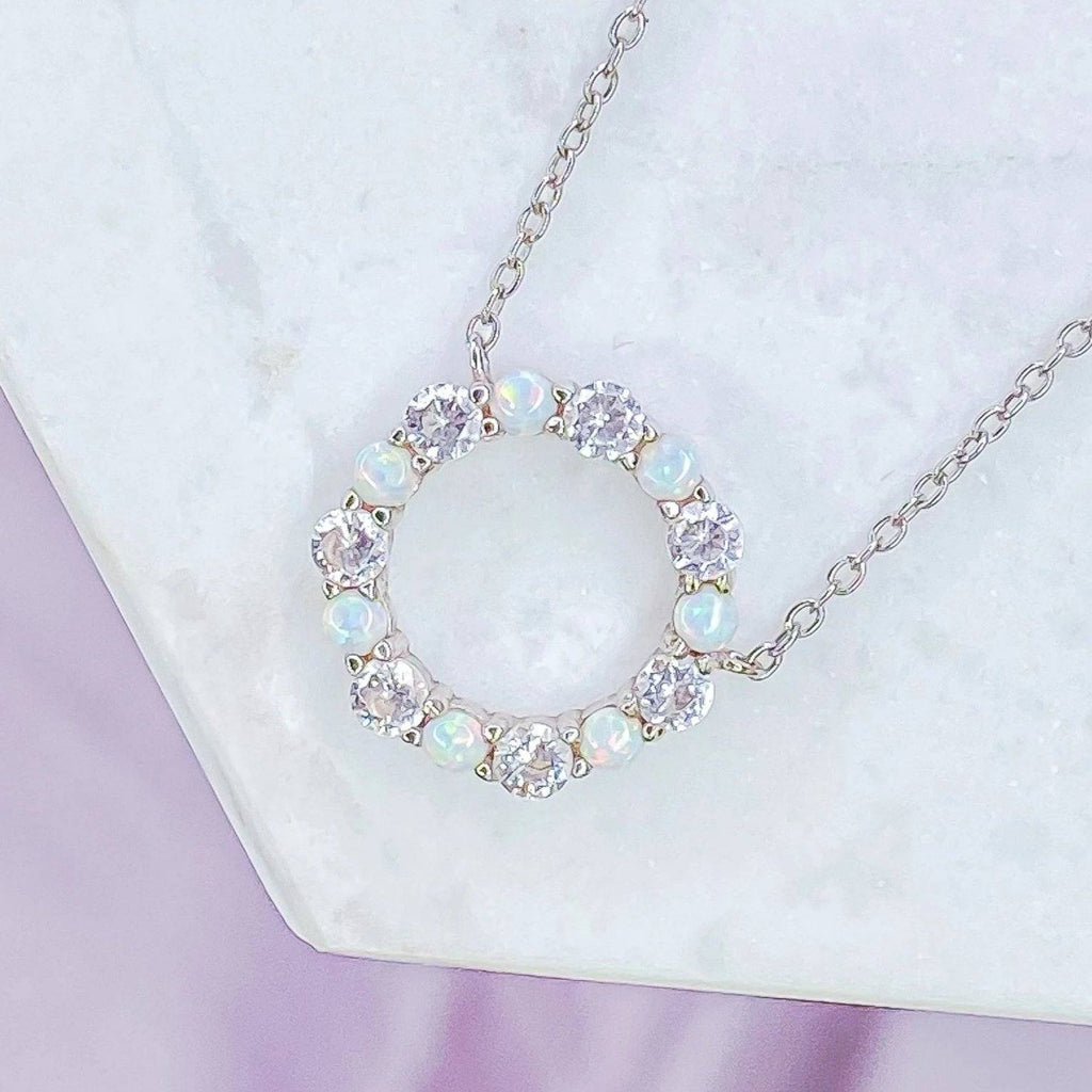 """Infinity"" Necklace in White Opal + Cubic Zirconia Necklaces Chloe + Lois"