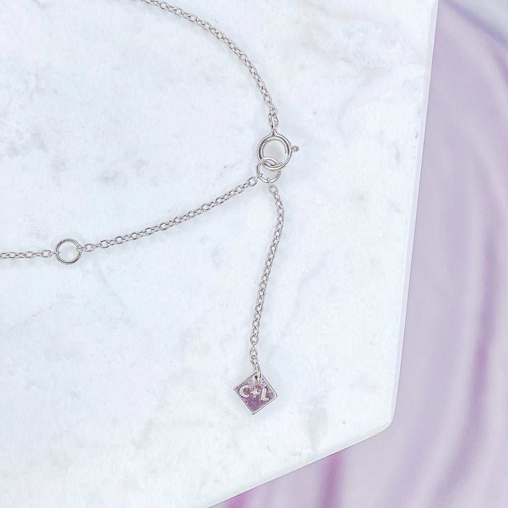 Sterling Silver White Opal and CZ Circle Necklace Chloe and Lois