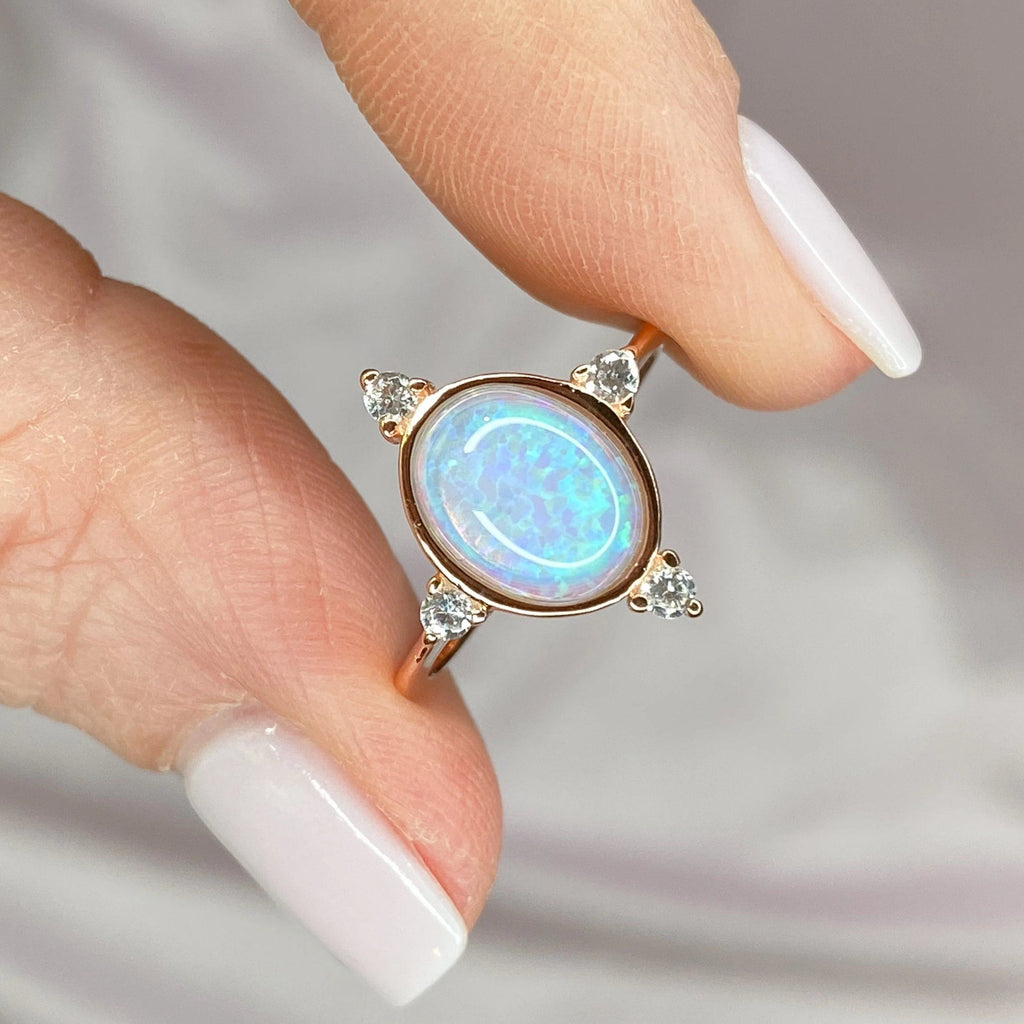 "Rose Gold Blue Opal and Cubic Zirconia ""Point"" Ring Rings Chloe + Lois"