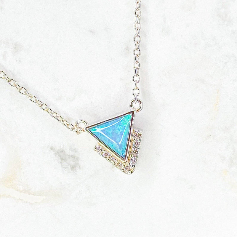 Blue Opal and CZ Triangle Necklace