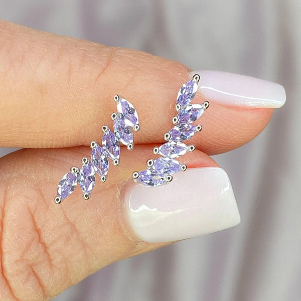 Purple Cubic Zirconia Ear Climbers
