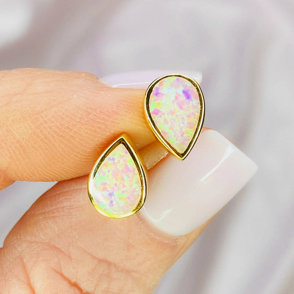 "14k Gold Pink Opal ""Drop of Rosé"" Stud Earrings Earrings Chloe + Lois"