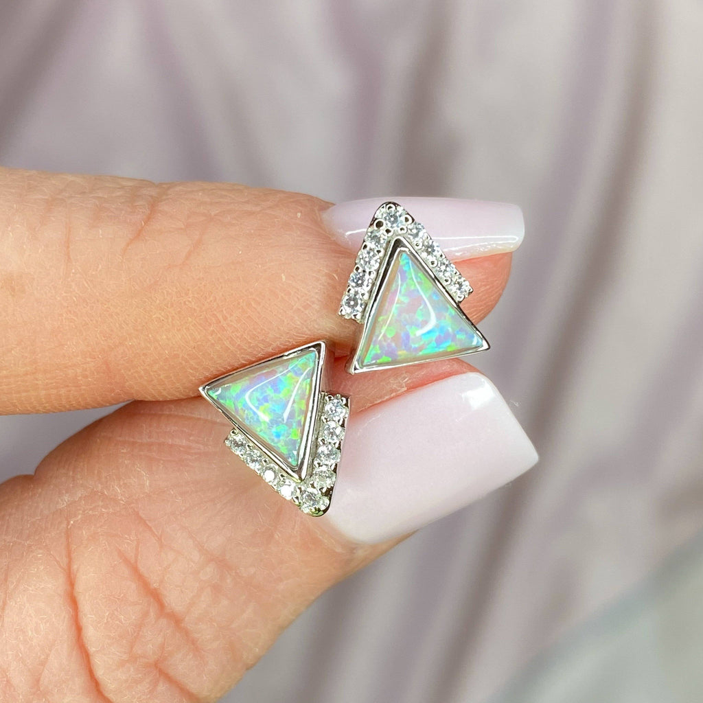 Sterling Silver Pink Opal Triangle Stud Earrings Earrings Chloe + Lois