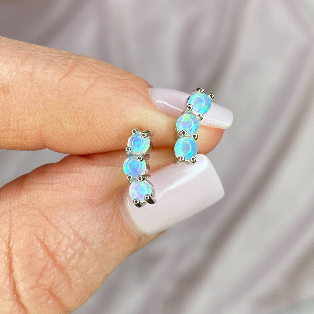 "Sterling Silver Blue Opal ""Three Dot"" Ear Climbers Earrings Chloe + Lois"