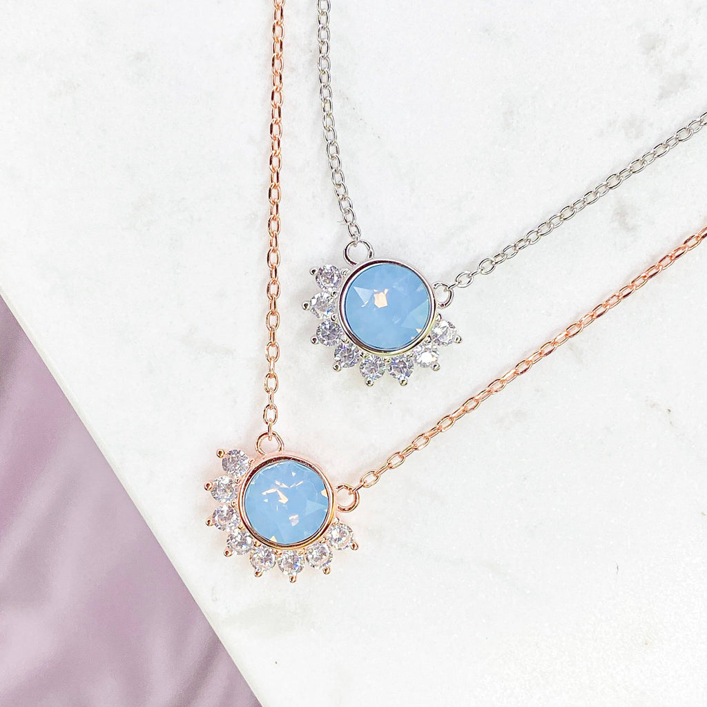 """Lois"" Necklace in Air Blue Swarovski®"