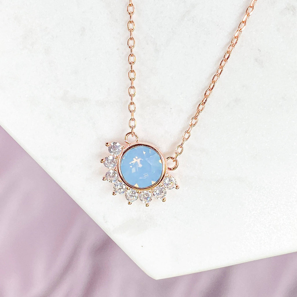 """Lois"" Necklace in Air Blue Swarovski® Necklaces Chloe + Lois Rose Gold"