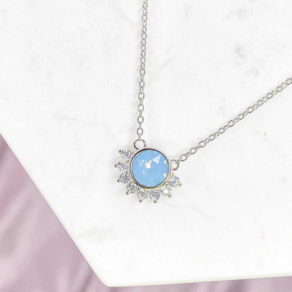 """Lois"" Necklace in Air Blue Swarovski® Necklaces Chloe + Lois Sterling Silver"