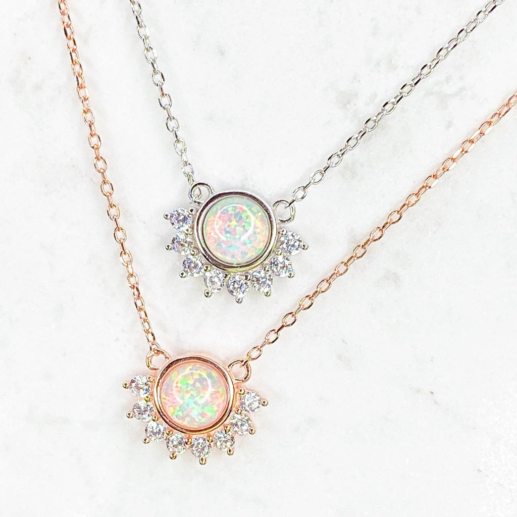 """Lois"" Necklace in White Opal Necklaces Chloe + Lois"