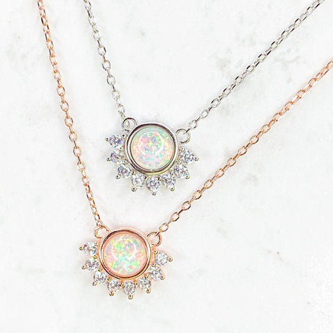 Dainty Opal and Cubic Zirconia Necklace