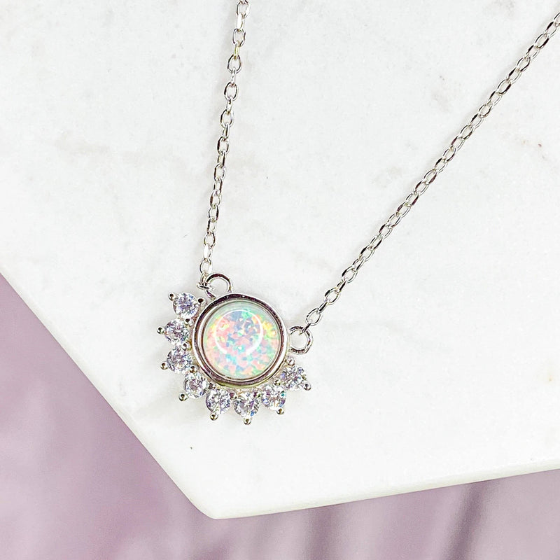 """Lois"" Necklace in White Opal"
