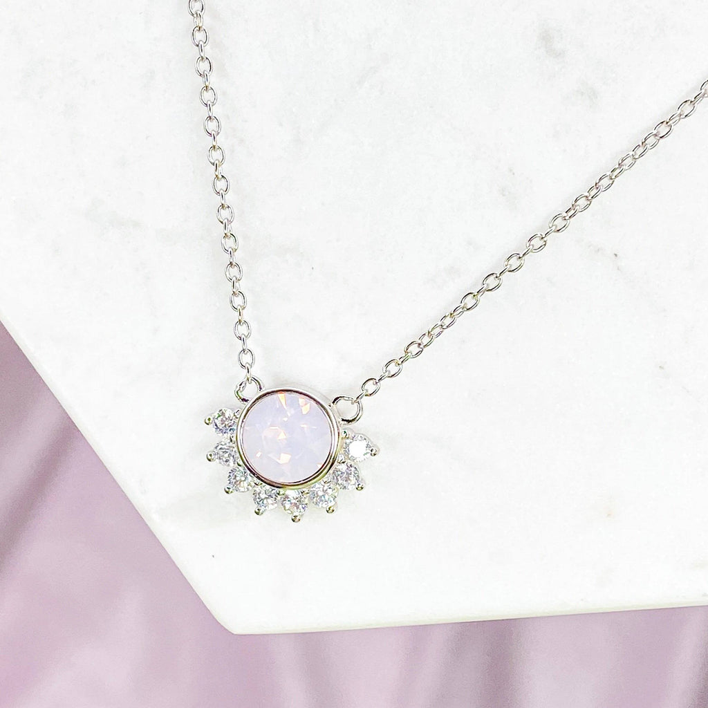 """Lois"" Necklace in Rosewater Pink Swarovski® Necklaces Chloe + Lois Sterling Silver"