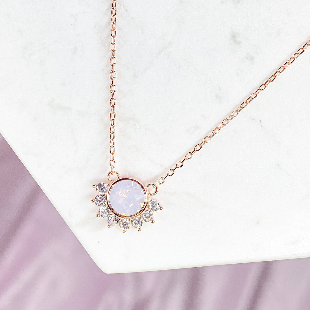 """Lois"" Necklace in Rosewater Pink Swarovski® Necklaces Chloe + Lois Rose Gold"