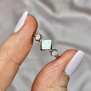 14k Gold Square Opal Ring