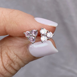 "Sterling Silver Cubic Zirconia ""Sparkler"" Stud Earrings- Pink"