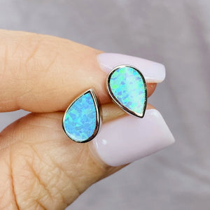 Solid Sterling Silver Dainty Blue Opal Stud Earrings