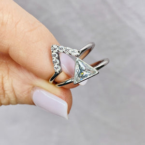 Sterling Silver Clear Cubic Zirconia Triangle Stacking Ring Set