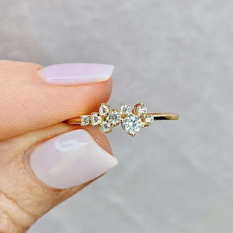 14k Gold Sparkling Cubic Zirconia Fizz Ring