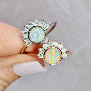 """Lois"" Ring in White Opal"